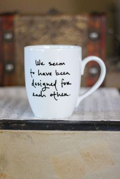 pride & prejudice quote on a coffee mug...yes please.