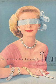Vintage 1950s Trifari Jewelry Ad.    Shop Vintage Trifari jewelry at www.LUXXORVintage.com