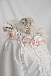 New Handmade Romantic Bohemian CROWN. Pink & Cream ROSES with tulle & Shabby Chic fabric.