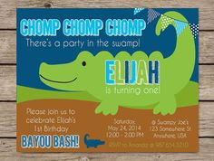 Alligator Swamp Invitation Invite Kids Birthday Boy PRINTABLE digital 4x6 5x7 Alligator Party Swamp Bayou Party First Birthday Gator Theme #quotes #kids