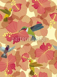 Hummingbird Marriage On Hibiscus by Sabine Reinhart available as a vector file on patterndesigns.com