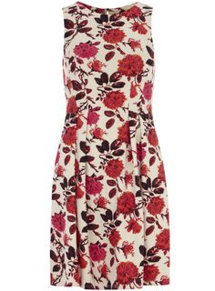 Red floral scuba dress - Fit & Flare Dresses - Dresses - Clothing