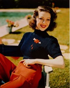 Love the little felt embroidery on Loretta Young's sweater.