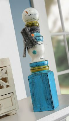DIY Snowman from an old spindle, except if you'd like to make a 'frosty' snowman he had a button nose & to eyes made out of coal, just sing the song & it reminds you lol I ran across a lady in a second hand store singing Frosty the Snowman... looking at snowmen... she would only take the ones with button noses lol.