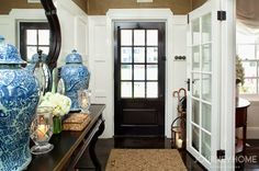 Beautiful black and white and blue entry