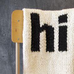 Knitted Helvetica Hi Baby Blanket for Bassinet by YarningMade, $65.00