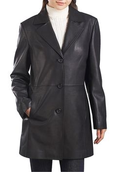 This beautiful BGSD Women's New Zealand Lambskin Leather Walking Coat looks great with a dress or pants.  Made with ultra-soft New Zealand lambskin leather styled in an A-line silhouette will compliment your figure.  $199.99 http://www.luxurylane.com/426-199811-blk.html