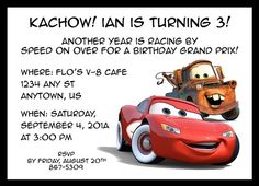 Cars Inspired Birthday Invitation: $15.00 © 2011 Ruby Dorcas Designs [I do not own Cars, Lightning McQueen, or Tow Mater]