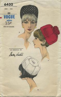 Vintage Hat Sewing Pattern | Vogue 6432 | Year 1966 | Head Size 22 | Dome Hat | An Original by Sally Victor