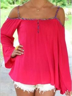Pink Off Shoulder Camis Long Sleeves Blouse | Choies
