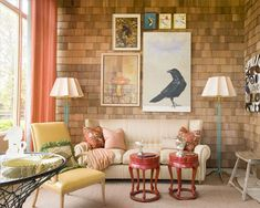 warm living room, love the yellows, browns and reds!