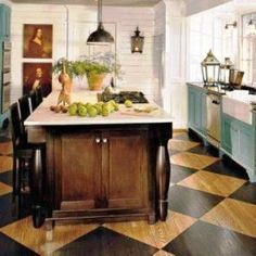 I think I want to do this cabinets, kitchens, idea, cabinet colors, painted wood floors, islands, hous, flooring, painted floors