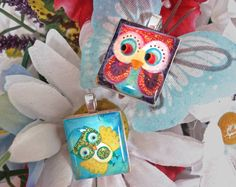 """Whimsy and colorful owl pendants from our scrabble tile set """"Whimsical Owls"""" - Mango and Lime Design"""