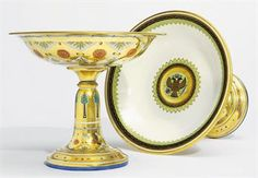 A pair of porcelain tazzas from the Kremlin Service
