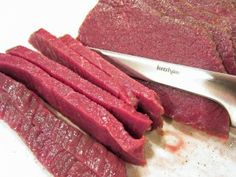 Easy Venison Jerky 2-3 pounds venison, 1/3″ thickness 1 quart water 1/4 cup Morton Tenderquick or Pickling & Canning Salt 1/2 cup brown sugar (up to 3/4 if you want a sweeter jerky) 1 tablespoon granulated garlic 1 tablespoon black pepper http://www.tiffanyhaugen.com/venison-jerky-protein-to-go/