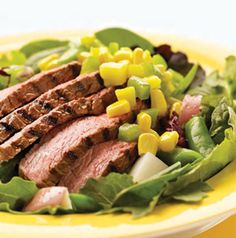 Change up the typical steak and potatoes dinner. Serve Steak with Curried Mango-Corn Vinaigrette. Technically it's a salad, but it's definitely NOT rabbit food. A hearty meal, indeed.