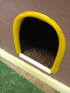 piece of hose for doggie door.. ingenious!