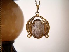 Vintage 1950s Agate Pendant Necklace with 12KGF Filigree Setting