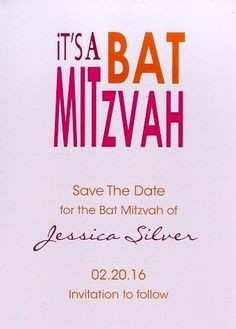 It's A Bat Mitzvah Save The Date Magnet in French Kiss
