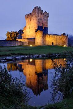 Ross Castle at night Killarney Ireland**.