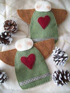 Primitive Felt Angel Ornaments, Christmas Craft