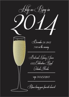 2014 Custom Champagne New Years Party Invitation, New Year Party Ideas www.loveitsomuch.com