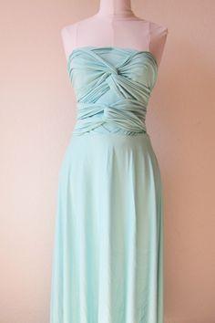 Infinity Dress, Bridesmaids Dresses, Wrap Dresses, Convertable dresses in Aqua. $110.00, via Etsy.