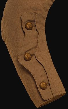 Riding coat, England, Great Britain (made), 1750-1759 (made)  The mariner's cuff became a fashionable feature of civilian coats in the 1750s and soon began to appear on women's riding habits.