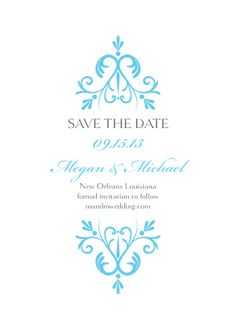 Save the Date Card - Monogram Swirls