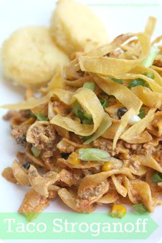 The Recipe Critic: Taco Stroganoff.  Quick and easy, kid pleasing dish that tastes like nacho dip on noodles!  Yummy!
