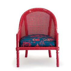 Chic Seats | Dingy paint and fabric kept these caned chairs from a bright future. Fiery red lacquer and new chinoiserie upholstery put them back in the seating game. | SouthernLiving.com