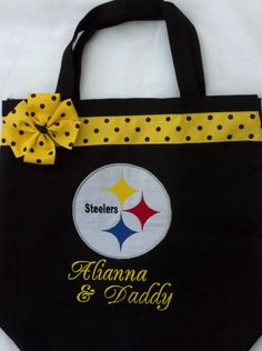 Personalized Steelers Football tote bag by MyDesertCutie on Etsy