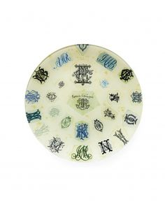 """Need new ideas to make the most of your monogram? Let John Derian's """"Florence Nightingale"""" plate (jaysonhome.com) be your muse."""