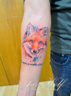 Watercolor-Sketch-Realistic Fox Tattoo.  Tattooed by @javiwolfink  www.facebook.com/javiwolfink