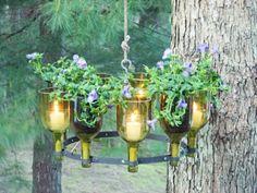 garden planters, wine bottle crafts, diy chandelier, recycled bottles, glass