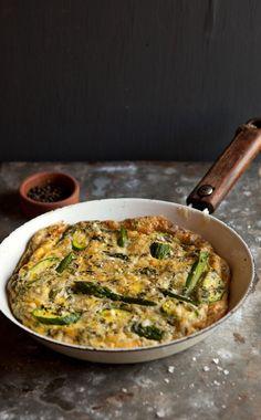 Minty asparagus and zucchini frittata