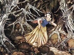 """Snow White and the Seven Dwarfs"" 1937 Disney illustration concept art by Gustaf Tenggren of Snow White running in the forest Walt Disney, Dark Forest, Snowwhite, Concept Art, White Concept, Gustaf Tenggren, Art Wall, Fairies Tales, Snow White"