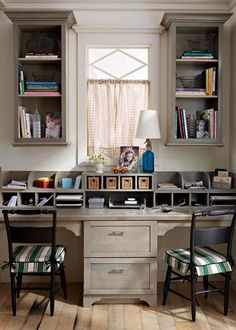 cubbies on top of the desk! Simple DIY addition to any desk (and so functional)