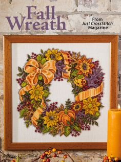 Fall Wreath from the Sep/Oct 2014 issue of Just CrossStitch Magazine. Order a digital copy here: http://www.anniescatalog.com/detail.html?code=AM53354
