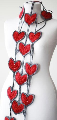 Heart crochet scarf for women, Heart shaped neck accessory, Heart lariat scarf, Red Crochet lariat, Handmade scarf, heart crochet