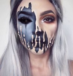 41 Most Jaw-Dropping Halloween Makeup Ideas That Are Still Pretty: Melting Face ..., #dropping #halloween #ideas #makeup #melting #pretty #still, hallowen makeup,