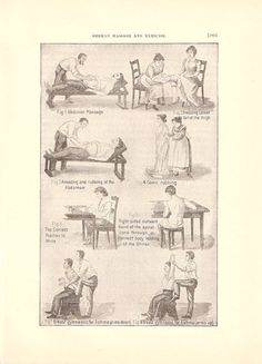 1901 German Massage and Exercises Medical Ephemera Illustrated Page.
