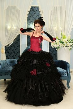 Satin Organza One Shoulder Strap Dropped Waist Lace Up Back Tiered Ball Gown Prom Dress H-114. $169.00, via Etsy.