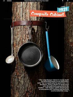 Belt + Hooks = Campsite Cabinet