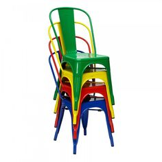 Industrial Multi Colored Dining Chairs