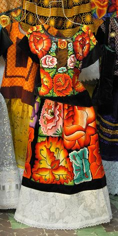 """Tehuantepec Clothing Mexico  Magnificent huipil and skirt from the Tehuantepec area of Oaxaca. Hand embroidered in the typical """"large flower"""" style of Tehuantepec."""
