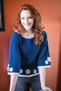 Midnight Snow Sweater Digital Crochet Pattern from Love of Crochet magazine's Holiday Crochet 2014 Issue - Lace trim combines with fun motifs