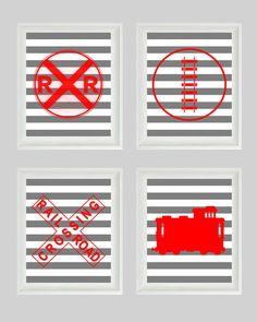 Train Art Print Set - Railroad Sign Boy Room Nursery Red Gray Stripes Wall Art Home Decor set of 4 8x10. $50.00, via Etsy.