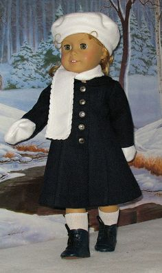 Navy Coat with white accessories by Sugarloaf Doll Clothes, via Flickr