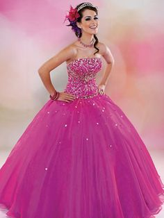 Pink Quince Dresses -Magenta Dress With Sparkly Bodice